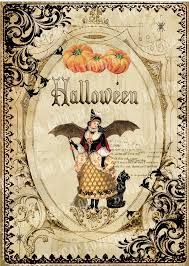 halloween frame craft 5x7 printable art digital images vintage halloween witch