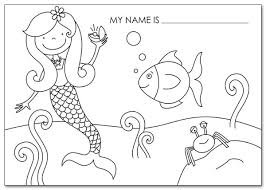 mermaid kids activity placemats