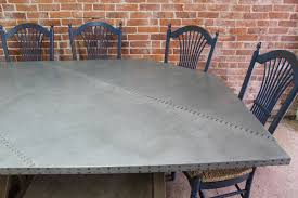 Zinc Table Top Zinc Table Top With Old Oak Trestle Base Ecustomfinishes
