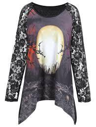 t shirts halloween plus size lace panel halloween moon asymmetrical t shirt black