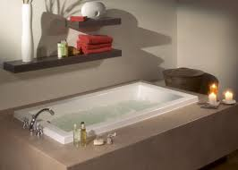 bathroom floating shelves and bathtub with tub surround ideas for