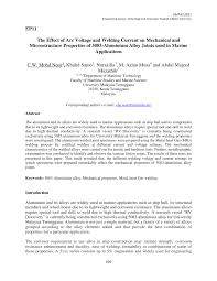 the effect of arc voltage and welding current on mechanical and