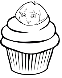 cupcake depicts dora explorer coloring pages cookie coloring