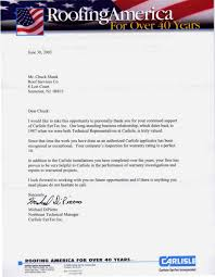 letters of recommendation roof services company