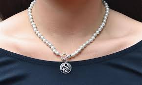 monogram sterling silver necklace 6mm genuine pearl monogram sterling silver toggle necklace groupon
