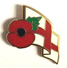 Flag And Cross Poppy Badge With The St George Cross England Flag