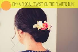 flower hair bun beauty diy a floral twist on the plaited bun bespoke