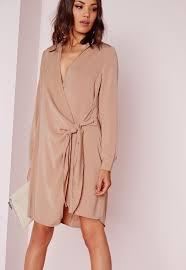crepe wrap shirt dress missguided