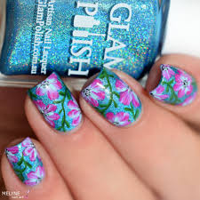 floral nails with acrylic paint easy nail art by melyne nailart