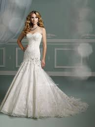 beaded lace applique over satin strapless mermaid sweetheart