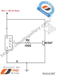 um66 musical door bell alarm circuit melody generator circuits