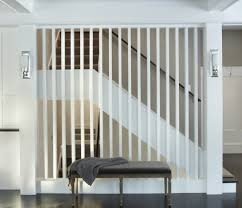 vertical wood slats staircase contemporary with upholstered bench