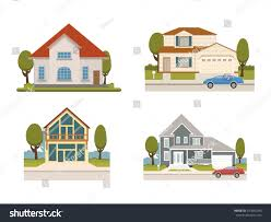 Chalet Houses Vector Flat Set Country Houses Chalet Stock Vector 547855240