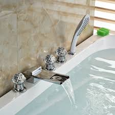 crystal handle chrome finish waterfall bathtub faucet with pullout