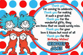dr seuss thing 1 thing 2 thank you card kidinvites on artfire