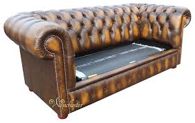 Gold Leather Sofa Chesterfield 2 Seater Sofa Bed Antique Gold Leather