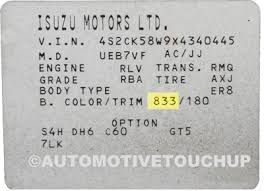 isuzu paint code locations touch up paint automotivetouchup