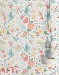 doves and flowers wallpaper removable wallpaper colorful