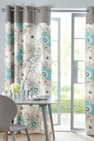 Gray And Teal Curtains Buy Teal Bold Floral Print Eyelet Curtains From The Next Uk