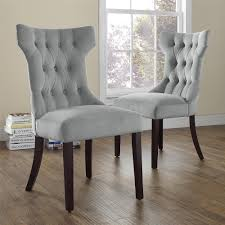 dorel clairborne gray microfiber tufted dining chairs set 2