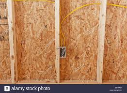 electrical wiring in a new house under construction stock photo