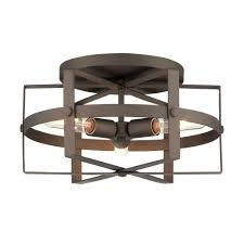 Rustic Ceiling Light Fixtures Varaluz Reel 3 Light Rustic Bronze Flushmount 242s03rb The Home