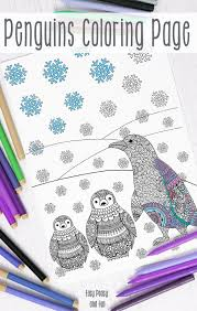 penguins winter coloring adults easy peasy fun