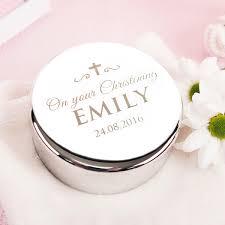 christening gift engraved circular trinket box on your christening