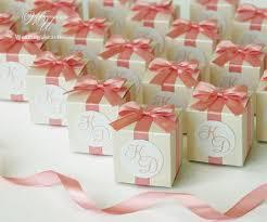 blush satin ribbon ivory wedding bonbonniere with blush satin ribbon bow tag