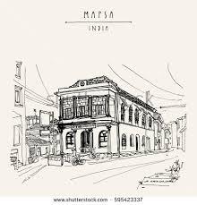 sketch street madrid street cafe spain stock vector 734975290