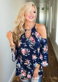 keyhole cold open shoulder navy blue pink floral blouse modern