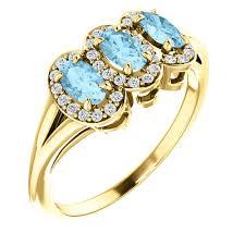 aquamarine and diamond ring 14k gold 3 aquamarine diamond ring j m jewelry