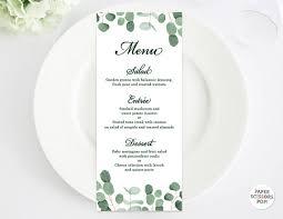 eucalyptus wedding menu template leafy menu template eucalyptus