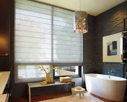 stylish bathroom contemporary bathroom with freestanding tub and window blinds