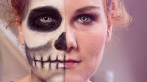 easy face makeup for halloween totenkopf schminken two face skull u0026 beauty easy halloween