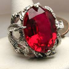 ruby sterling rings images Ruby stone solid sterling silver vine ring by jandsgems jpg