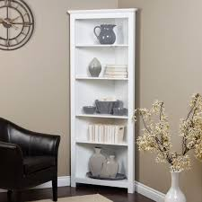 Corner Storage Units Living Room Furniture by White Wooden Corner Shelves With Five Racks On The Floor Connected