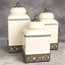 tuscan kitchen canisters sets original acanthus leaf cream canister set w metal base gg