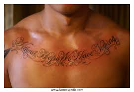name tattoos on chest for 3