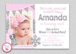Twins 1st Birthday Invitation Cards Winter Wonderland Birthday Invitation Silver Pink Winter