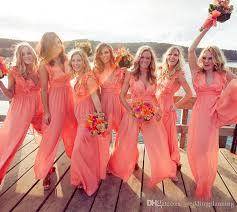 coral color coral color 2k17 bridesmaid dresses with deep v neck pleats pants