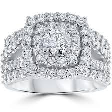diamond wedding ring sets 3 ct diamond engagement wedding cushion halo ring set 10k white gold