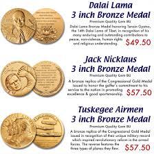 dalai lama 3 inch bronze medal jack nicklaus 3 inch bronze medal