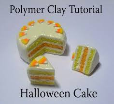 polymer clay halloween cake u0026 candy corn cane tutorial youtube