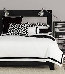 Black And White Modern Rug by Bedroom Comfortable Bed With Black And White Pillows And Throws