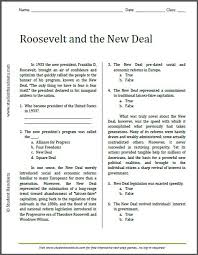 roosevelt and the new deal reading worksheet free to print