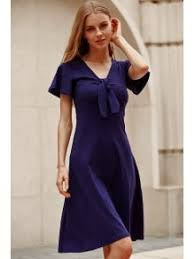 solid color plunging neck short sleeve midi dress navy blue