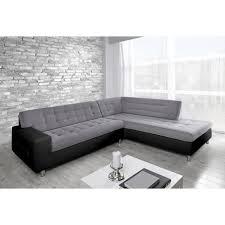 d achant tissu canap java canapé d angle droit 6 places tissu gris et simili noir