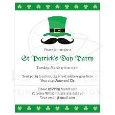 st patrick u0027s day party invitation with leprechaun hat and mustache