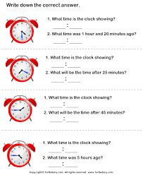 read analog clock and find end time worksheet turtle diary